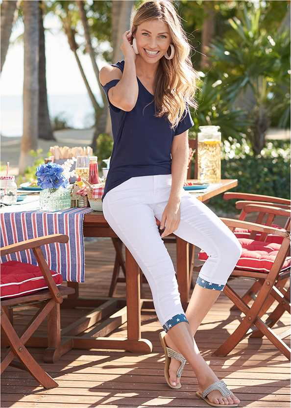 Cold Shoulder V-Neck Top,Star Cuff Capri Jeans,Frayed Cut Off Jean Shorts,Raffia Wrapped Hoops,Lace Up Gladiator Sandals,Leaf Earring Set,Faux Suede Layer Necklace,Steve Madden B Corina