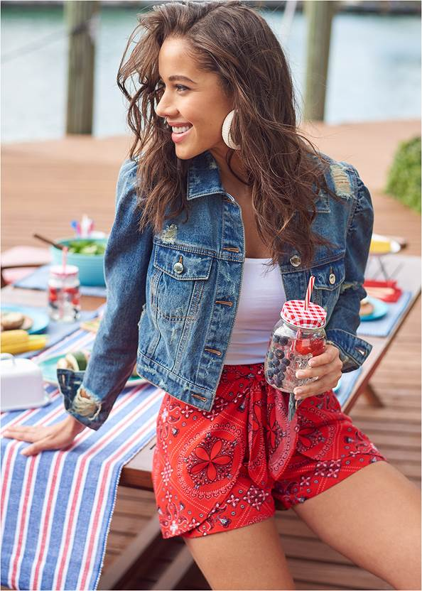 Paisley Print Shorts,Easy Halter Top,Basic Cami Two Pack,Cropped Puff Sleeve Denim Jacket