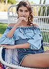 Cropped Front View Off Shoulder Chambray Top