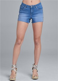 Front View Leopard Piping Detail Shorts