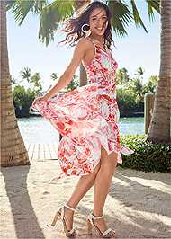 Front View Printed Ruffle Maxi Dress