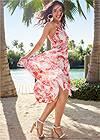 Front View Printed Ruffle Maxi Dress