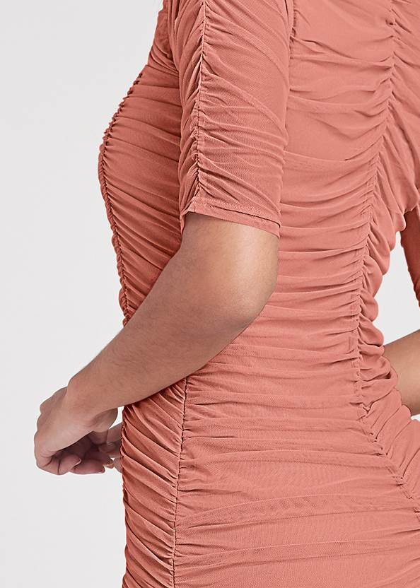 Detail back view Ruched Mesh Bodycon Dress