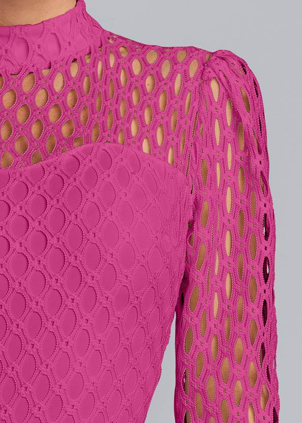 Detail front view Mock Neck Lace Dress