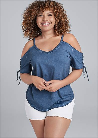 Plus Size Mineral Wash Lace Up Top