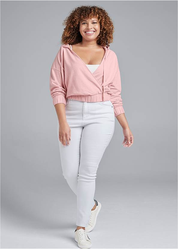 Full Front View Surplice Pullover Sweatshirt