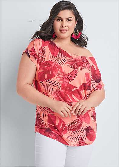 Plus Size Printed Casual Tee