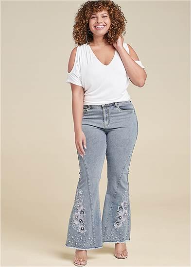 Plus Size Floral Applique Wide Leg Jeans