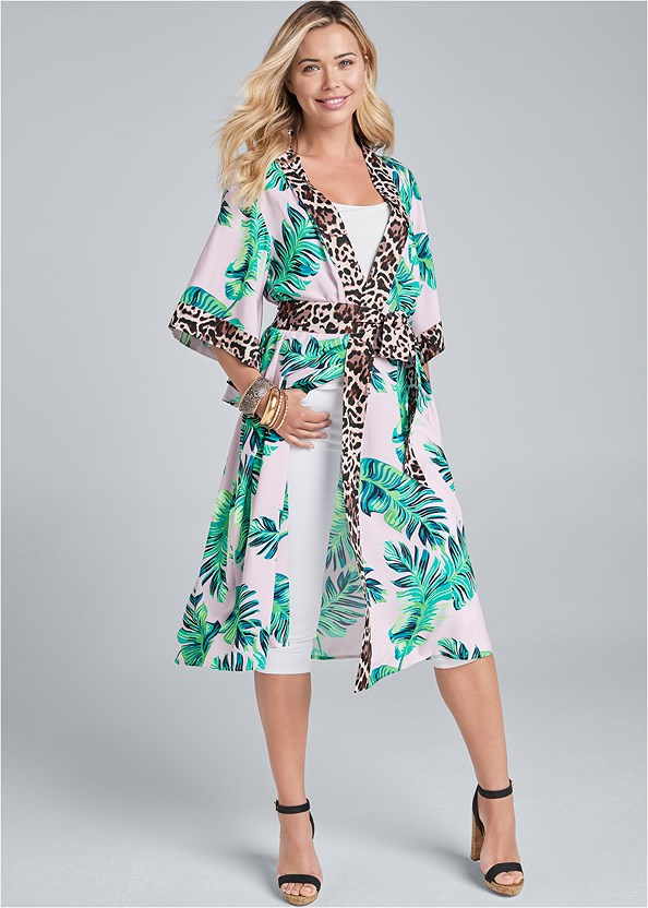 Palm Print Duster,Basic Cami Two Pack,Color Capri Jeans,Ankle Strap Cork Heel,Hoop Earrings