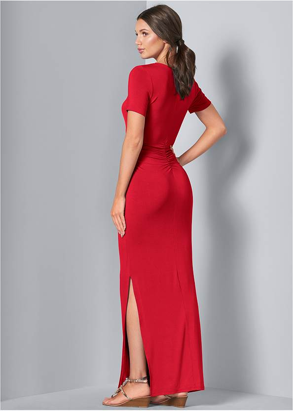 Back View Ruched Maxi Dress