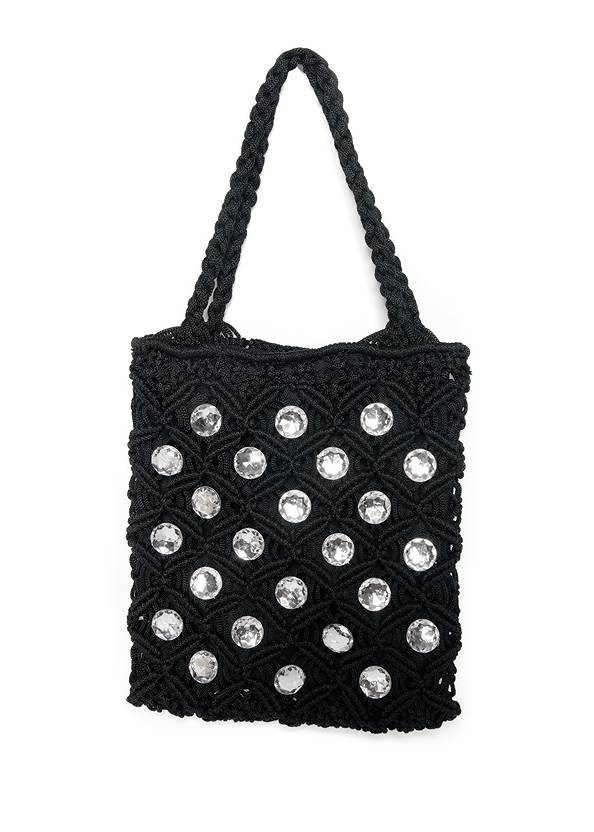 Rhinestone Crochet Mini Bag