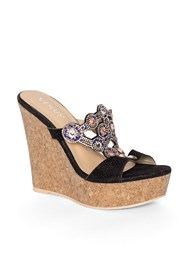Front View Beaded Cork Wedge
