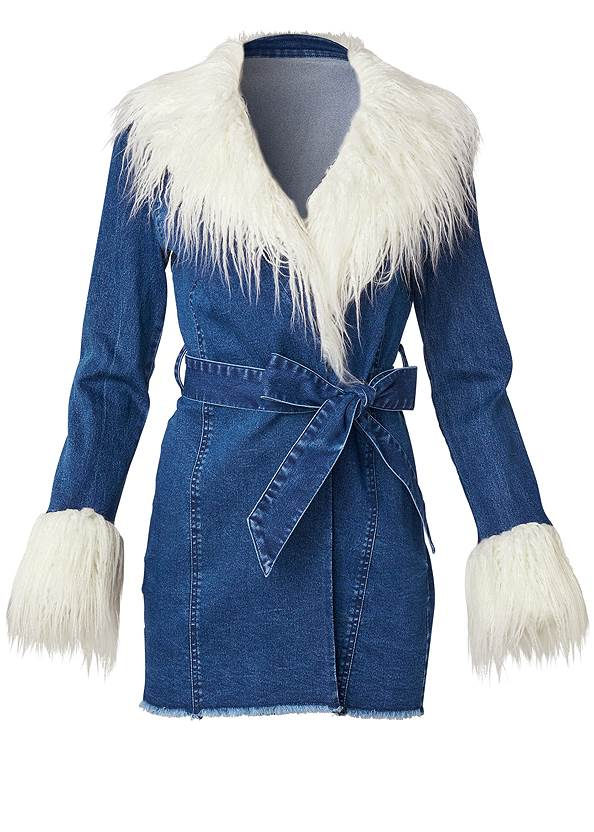 Ghost with background  view Denim And Faux Fur Trench