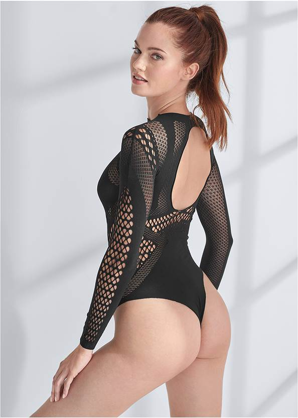 Cropped back view Long Sleeved Teddy