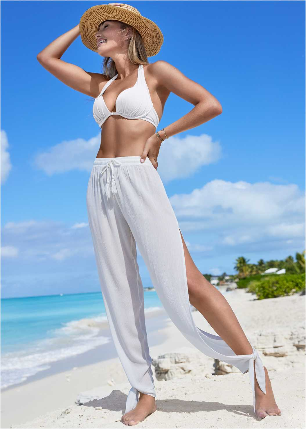 Side Split Beach Pant,Marilyn Underwire Push Up Halter Top,Low Rise Classic Bikini Bottom ,Scoop Front Classic Bikini Bottom ,Versatility By Venus™ Reversible One-Piece,Ring Handle Straw Tote