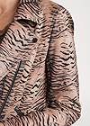 Detail front view Tiger Print Moto Jacket