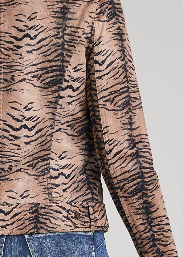 Detail back view Tiger Print Moto Jacket