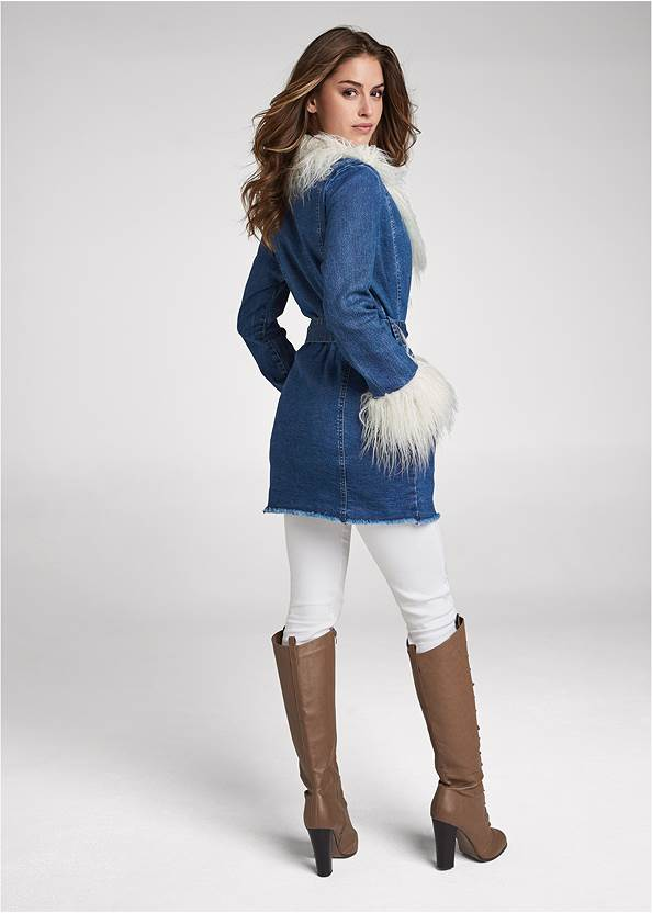 Full back view Denim And Faux Fur Trench