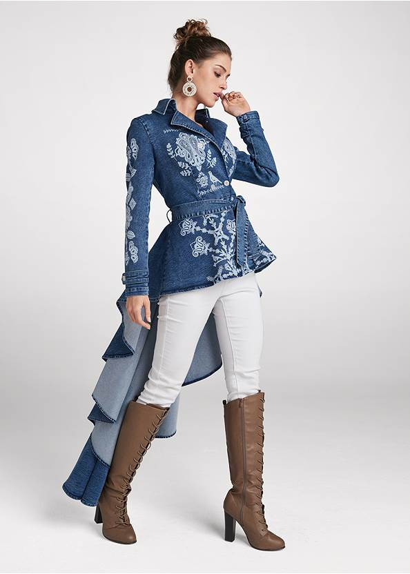 Full front view High-Low Denim Trench Coat