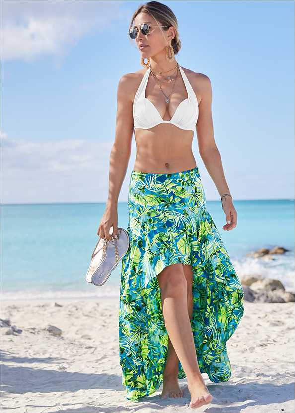 Palm Print High Low Skirt,Marilyn Underwire Push Up Halter Top,Scoop Front Classic Bikini Bottom ,Multi Strap Ankle Wrap Heel,Studded Flip Flops,Square Neck Tank Top,Shell Pendant Necklace,Sequin Straw Crossbody Bag,Ankle Strap Cork Heel