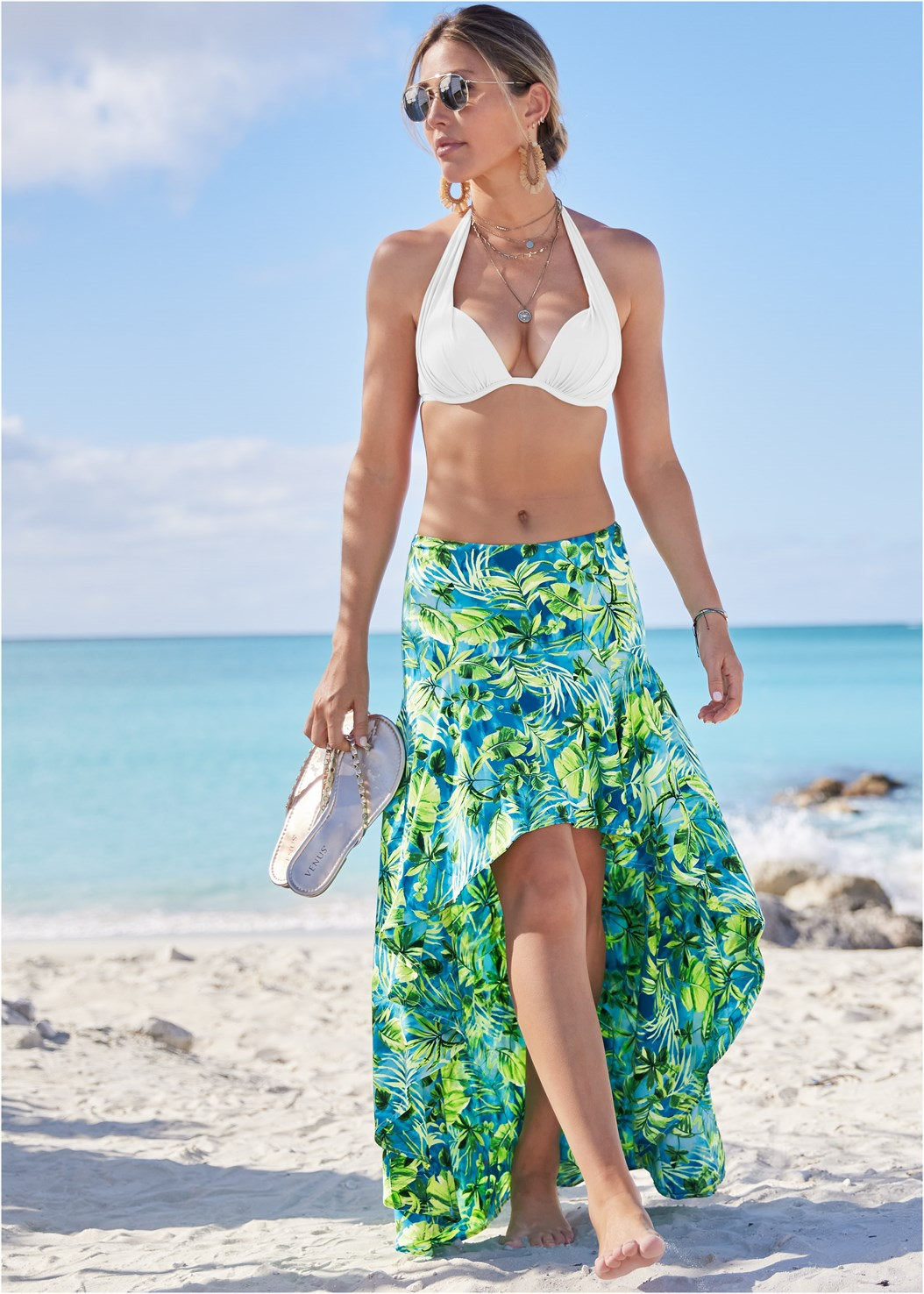 Palm Print High Low Skirt,Marilyn Underwire Push Up Halter Top,Scoop Front Classic Bikini Bottom ,Multi Strap Ankle Wrap Heel,Studded Flip Flops,Beaded Raffia Hoop Earrings,Square Neck Tank Top,Shell Pendant Necklace,Sequin Straw Crossbody Bag,Ankle Strap Cork Heel,Shell Fringe Earrings