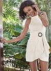 Front View Halter Neck Linen Dress