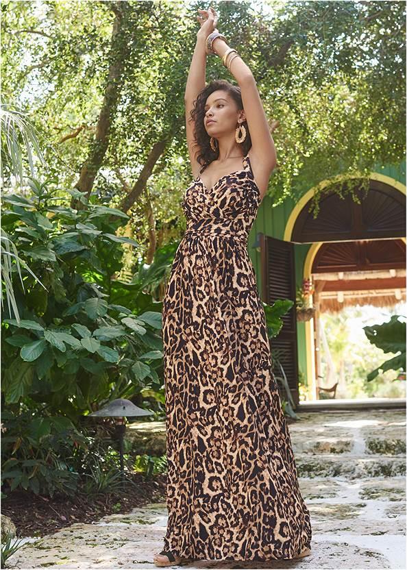 Animal Print Maxi Dress,Ankle Strap Cork Heel,T-Strap Ankle Heels