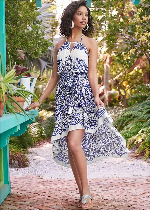Printed High Low Dress,Square Toe Thong Heel Sandal