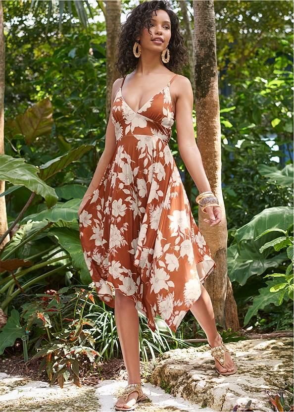 Floral Print Midi Dress,Convertible Straw Tote Bag