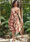 Front View Floral Print Midi Dress
