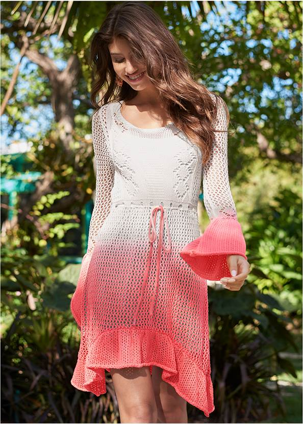 Ombre Crochet Mini Dress,Lucite Toe Loop Mule,Beaded Rattan Hoop Earrings,Convertible Straw Tote Bag