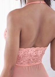 Detail back view Deep Plunge Lace Bodysuit