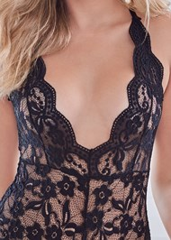Detail front view Sheer Lace Bodysuit