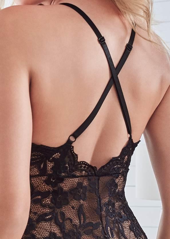 Detail back view Sheer Lace Bodysuit