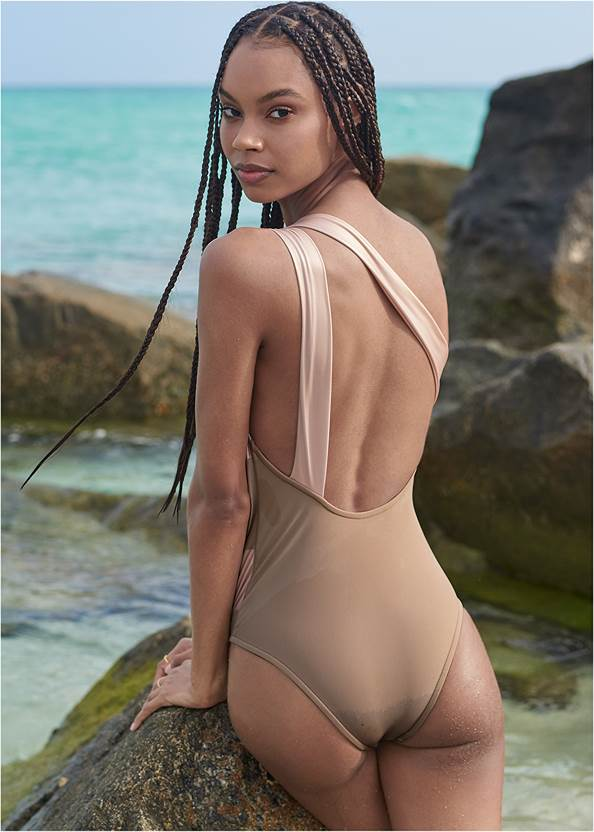 Back View Sports Illustrated Swim™ Color Block One Shoulder One-Piece