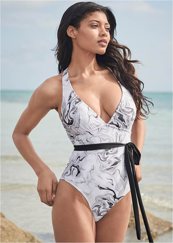 Cropped front view Sports Illustrated Swim™ Rio Wrap One-Piece