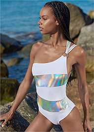 Front View Sports Illustrated Swim™ Color Block One Shoulder One-Piece