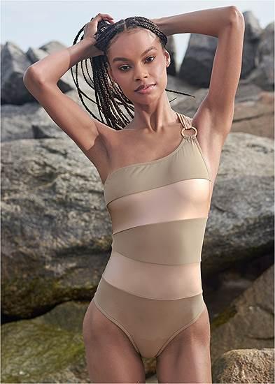 Plus Size Sports Illustrated Swim™ Color Block One Shoulder One-Piece
