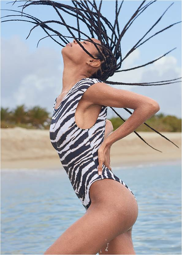 Cropped front view Sports Illustrated Swim™ Ocean Cheeky One-Piece