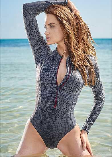 Plus Size Sports Illustrated Swim™ Long Sleeve Zip One-Piece