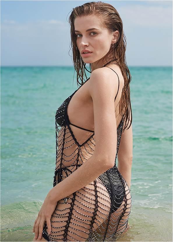 Full back view Sports Illustrated Swim™ Windowpane Cover-Up Dress