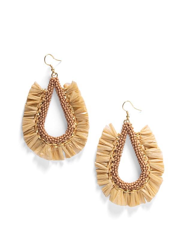 Beaded Raffia Hoop Earrings