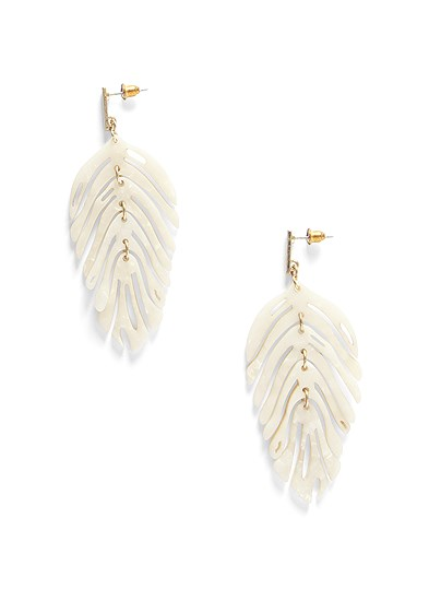 Pearl Resin Leaf Earring