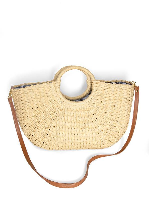 Convertible Straw Tote Bag,Lucite Ankle Wrap Wedge,Long Chain Pendant Necklace