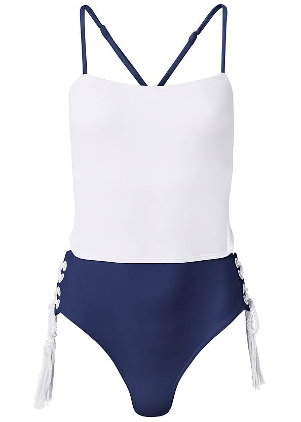 Ghost with background  view Bandeau Rope Trim One-Piece