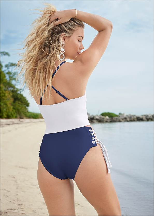 Cropped back view Bandeau Rope Trim One-Piece