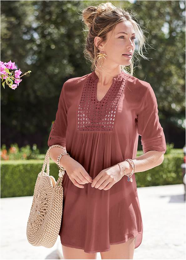 Sheer Tunic Cover-Up,Marilyn Underwire Push Up Halter Top,Slimming Bandeau One-Piece