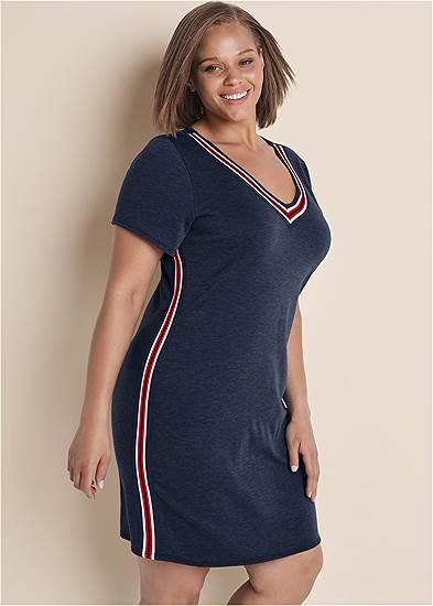 Plus Size Striped Trim Lounge Dress