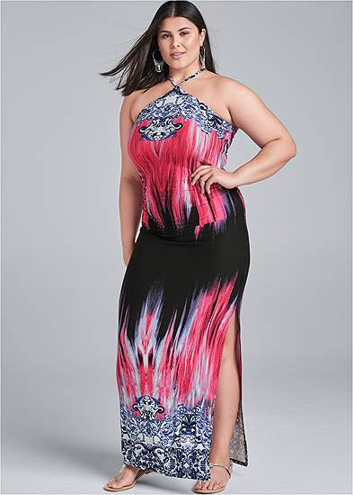 Plus Size Printed Halter Neck Dress
