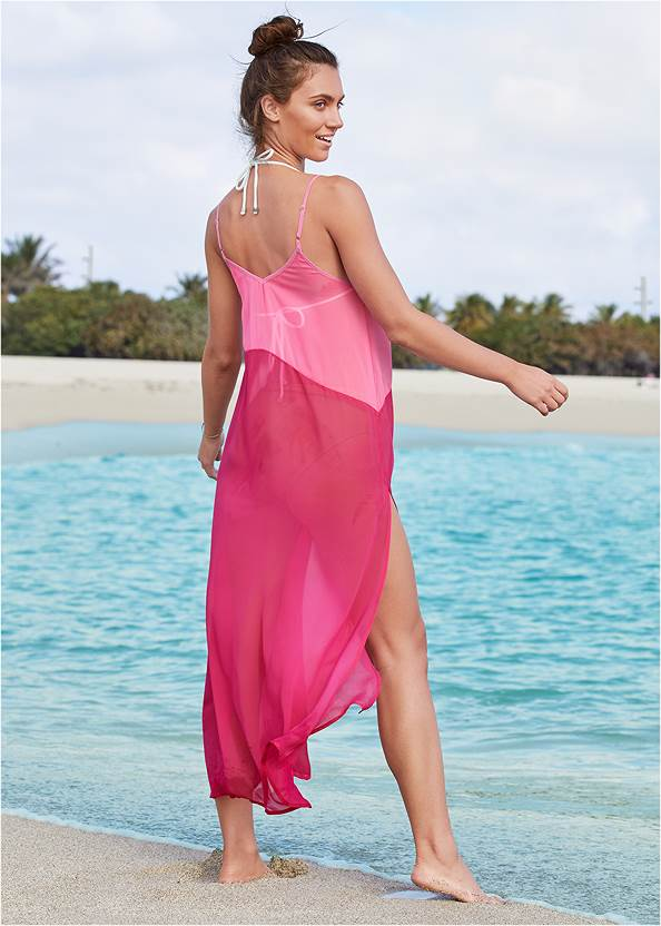 Back View Color Block Maxi Dress Cover-Up